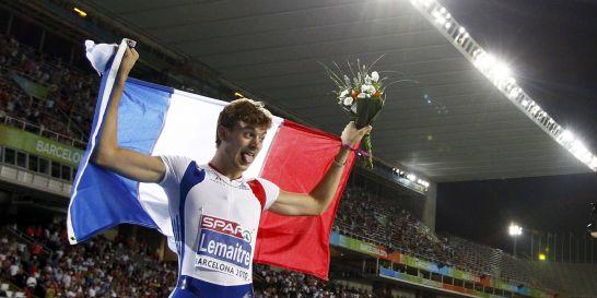 Christophe Lemaitre champion d'Europe du 100m, à Barcelone 2010