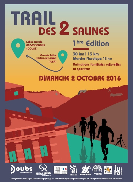 3 dossards pour le Trail des 2 Salines 2016 (Doubs)