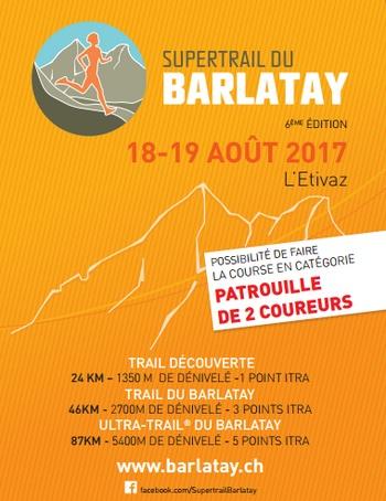 2 dossards pour le SuperTrail du Barlatay 2017 (Suisse)