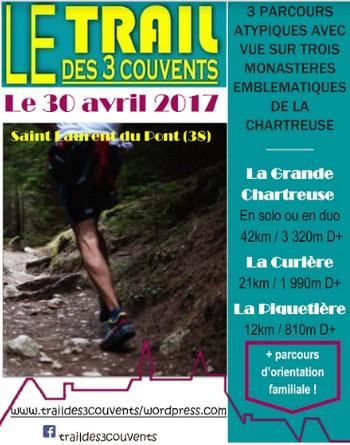 7 dossards pour le Trail des 3 couvents 2017 (Isère)
