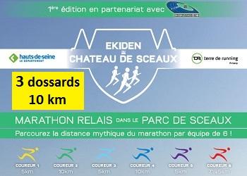 3 dossards pour le 10 km de l'Ekiden de Sceaux 2017 (Hauts-de-Seine)