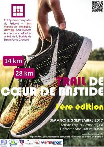 5 dossards Trail de Cœur de Bastide 2017 (Gironde, 1ère édition)