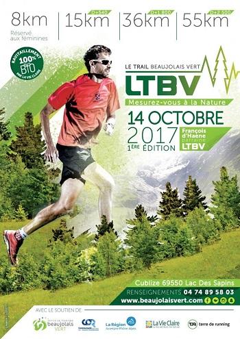1 dossard Trail du Beaujolais Vert 2017 (Rhône)