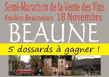 5 dossards Semi et 10 km Vente des vins de Beaune 2017 (Côte d'Or)