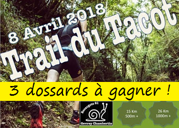 3 dossards Trail du Tacot 2018 (Côte d'Or)