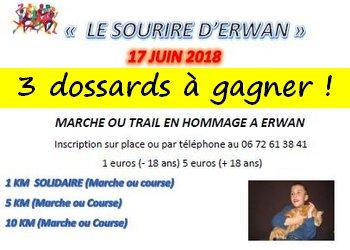 3 dossards 5 & 10 km Sourire d'Erwan 2018 (Essonne)