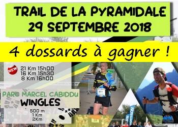 4 dossards Trail de la Pyramidale 2018 (Pas de Calais)