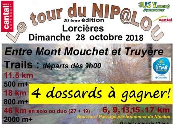 4 dossards Tour du Nipalou 2018 (Cantal)