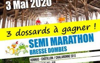 3 dossards Semi-marathon Bresse Dombes 2020 (Ain)