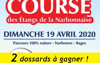 2 dossards Course des étangs de la Narbonnaise 2020 (Aude)