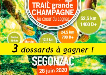 3 dossards Trail Grande Champagne 2020 (Charente)