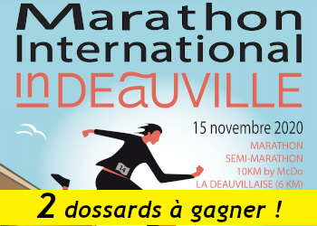 2 dossards Marathon international de Deauville 2020 (Calvados)