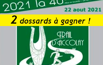 2 dossards Trail d Accolay 2021 (Yonne)