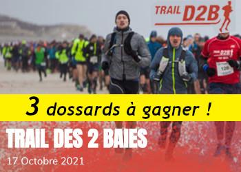 3 dossards Trail des 2 baies D2B 2021 (Pas de Calais)