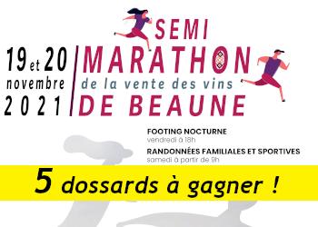5 dossards Semi-marathon de la vente des vins de Beaune 2021 (Cote d'Or)